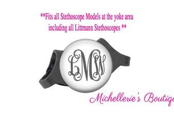 Stethoscope ID tag, Monogram Stethoscope Id Tag, Personalized Stethoscope Id tag, Name Stethoscope Tag, Classic White,MB314