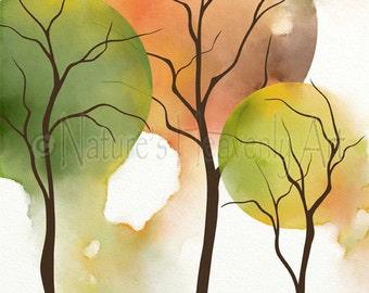 Yellow and Green Room Wall Decor, Autumn Tree Art Print 8 x 10, Fall Home Decor, Orange and Yellow Watercolor Art (351)