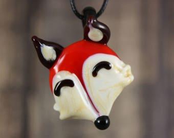 Fox Necklace, Fox Pendant, Fox Jewelry, Glass Pendant Necklace, Woodland Animal, Animal Necklace, Animal Jewelry, Red Fox, Glass Fox