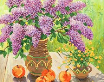 Lilac DIY bead embroidery kit Needlepoint beading Housewarming gift idea Needlework Beadwork Sewing Stitching craft set