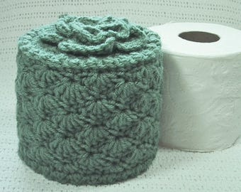 Toilet Paper Cozy w- Flower on Top - Hand Crocheted in Light Sage Color Acrylic Yarn - TP Cover - Bed & Breakfast Decor - Cover Your Spare