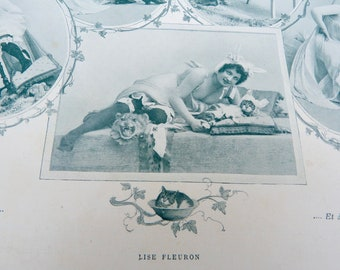 Vintage Antique 1900 French risque adorable women  with cat disguise  /recto/verso photography /Belle epoque magazine page