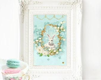 White rabbit print, nursery print, vintage style, Easter print, forget me not, lily of the valley, A4 giclee