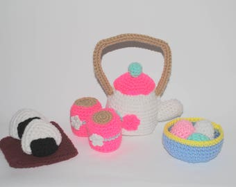 crochet pattern: cherry blossom tea set