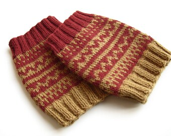 Hand knitted patterned Fair Isle women boot cuffs toppers covers Thick wool knee leg warmers Fashion accessories Cozy gifts for girlfriend