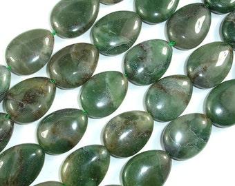 Jade, 15x20mm Flat Teardrop Beads, 15.5 Inch, Full strand, Approx 20 beads, Hole 1.5mm (287143001)