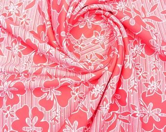 Nylon Lycra floral Print fabric four Way Stretch  Spandex  by yard Swimwear
