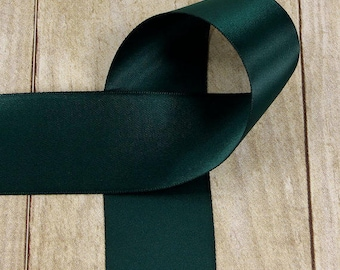 Satin Ribbon - Forest Green Ribbon - 2-1/2 inch Double Sided Forest Green Satin Ribbon, Sash, Hair Bow, Wedding, Crafting ribbon by the yard