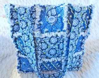 On Sale Blue Floral Rag Tote - Rag Quilt Tote - Blue and White Tote - Gift for Her