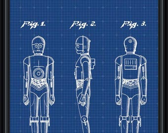 Star Wars C-3PO Vintage Patent Blueprint Poster A4