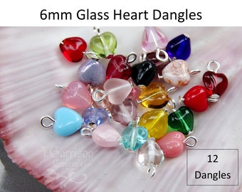 12 (Twelve) 6mm glass heart dangles- birthstone colors & more- silver, gold, antique brass, copper, gunmetal or antiqued silver plated loops