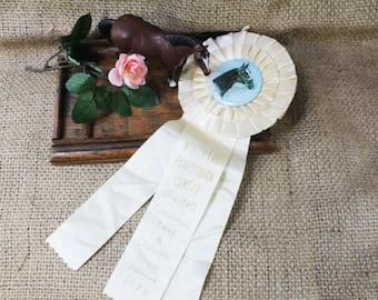 Horse Show Prize Award Ribbon, White Rosette Award Ribbon, Vintage Ribbon, 1979