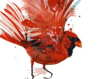 Red Cardinal Giclee Print Watercolor Wall Decor Art Print Bird Prints Living Room Decor  Contemporary Art office Decor