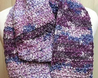 Crochet Scarf, Purple, Infinity Scarf, OOAK, Handmade, Acrylic, Winter, Gift for Her, Girlfriend Gift, Gift for Women, Christmas Gift
