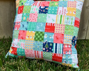 Christmas Pillow | Handmade Pillow | Patchwork Pillow | Quilted Pillow | Decorative Pillow | Throw Pillow | Modern Quilted Pillow