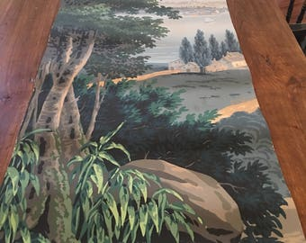 "Zuber & Cie ""Scenic America"" remnant of panel 1.  French wood block print French wallpaper"