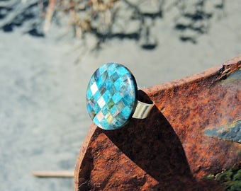 Apatite Labradorite 925Sterling Silver Adjustable Ring 28mm and obsidian