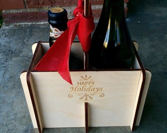 Wood Wine Caddy, Engraved Wine Tote, Happy Holidays Gift, 2-Pack Wine Carrier, Christmas Wine Gift, Christmas Beer Gift, Hostess Gift