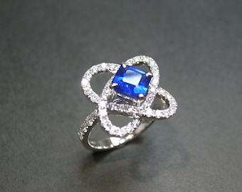 Blue Sapphire Diamond Wedding Engagment Ring In 18K White Gold