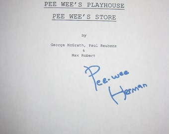 Pee Wee's Playhouse Signed TV Script Paul Reubens Pee Wee's Store autograph screenplay