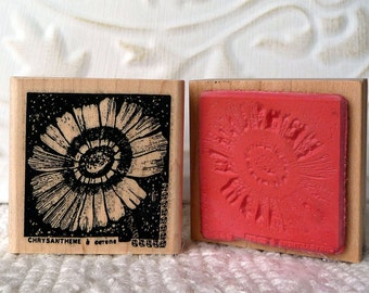 Chrysanthemum Flower rubber stamp from oldislandstamps