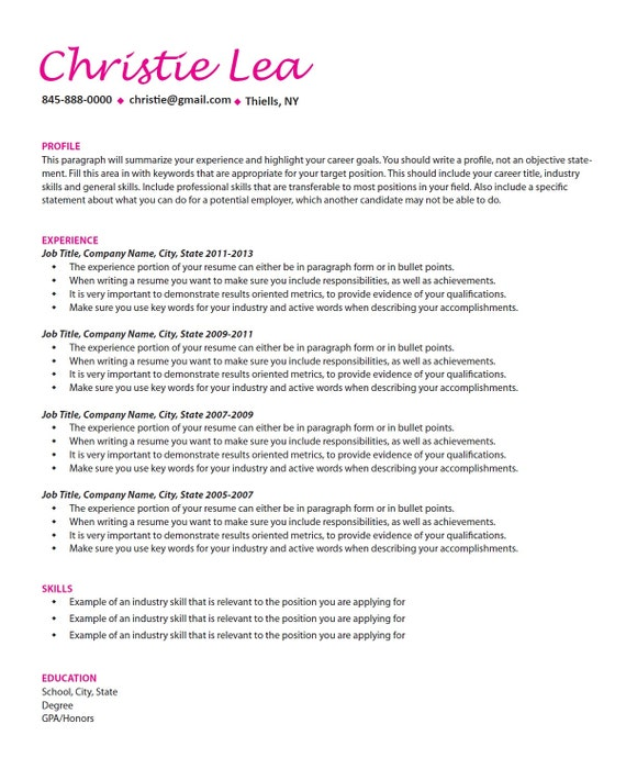 words to use when writing a resumes