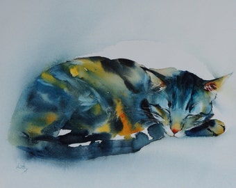 "Postcard. Greeting card. Reproduction watercolor cat ""Sushi sleeps"" blue tabby cat."