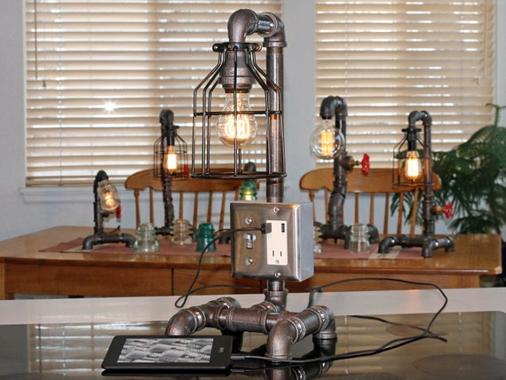 Industrial Pipe Table Or Desk Lamp With USB Charging Port