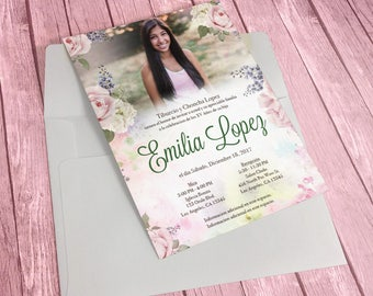 Printable Quinceañera Invitation - English or Spanish, Floral
