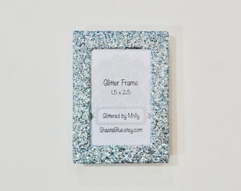 Blue Glittered Picture Frame 1.5 x 2.5