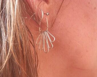 Earrings Silver 925 light, natural, leaves, poetic, ethnic, Boho, Handmade