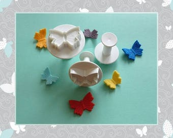 """Ejector cutter: """"Butterfly"""" - set of 3 different sizes."""