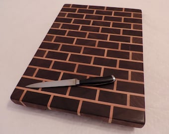 Wood cutting board, wooden cutting board, end grain cutting board, serving board, brick end grain cutting board