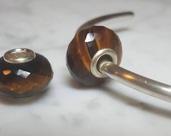 Tiger's Eye Gemstone European Bead