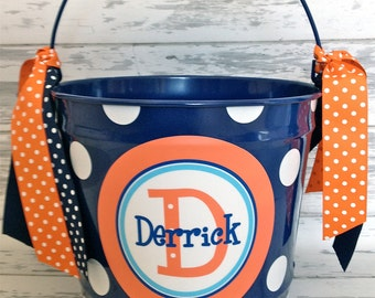 personalized bucket in orange and shades of blues - 10 quart size