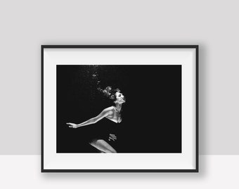 "Black and white photo ""Daughter of the water"" poster"