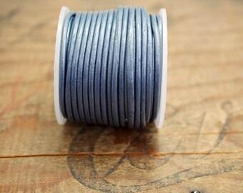 Leather Cord Metallic Blue 1.5mm 10 Yard Spool Metallic Blue Leather Cord