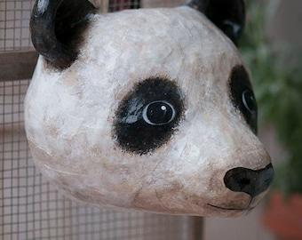 paper mache, panda, head wall mount, home decor, animal head, wall hanging