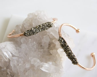 Pyrite Dust Bracelet - Rose Gold