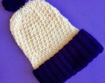 Slouchy Crochet Beanie Hat in Soft Pastel Lemon Yellow and Deep Purple