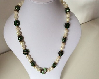 Vintage handmade faux white glass pearls with vintage Murano lampwork necklace