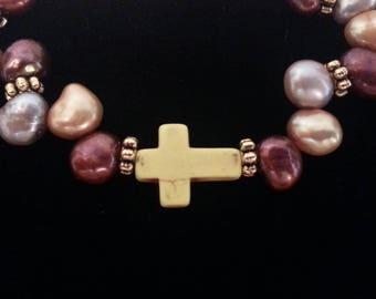 Yellow Stone Cross Pear Shaped Pearls 6mm Stretch Bracelet