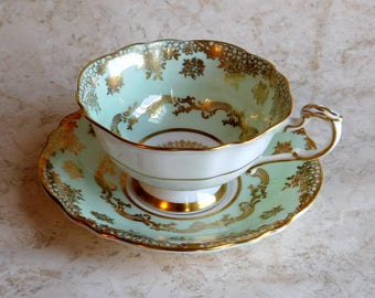Vintage Paragon Fine Bone China Cup and Saucer Set - By Appointment to H.M. the Queen & H.M. Queen Mary - Mint Green, Gold Gilt Hand Painted