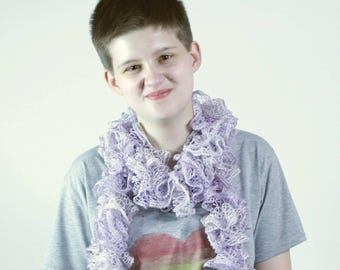 Faery Dust - Sparkly Lavender Ruffle Scarf