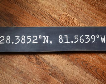 Coordinates Hand-Painted Wood Sign / Custom / Personalized / Address / Disney / Latitude, Longitude / New Home / Gallery Wall