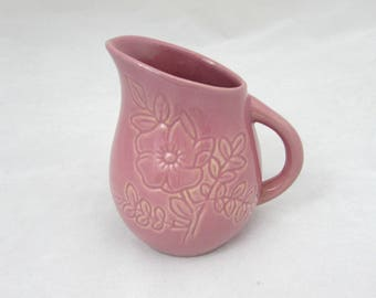 """Vintage Rosemeade Pitcher - 4"""" Pink Pottery floral design - signed - 1950s"""