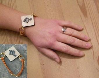Astro Scorpio bracelet leather and wood