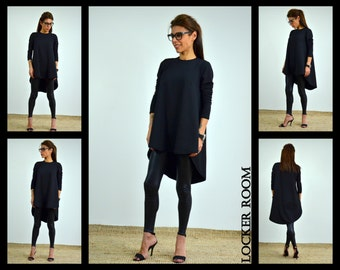 Black Blouse, Summer Top, Long Sleeve Blouse, Tunic Dress, Womens Tunic, Maternity Shirt,  Loose Tunic, Plus Size Tunic