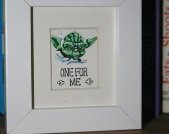 Yoda one for me original framed miniature artwork