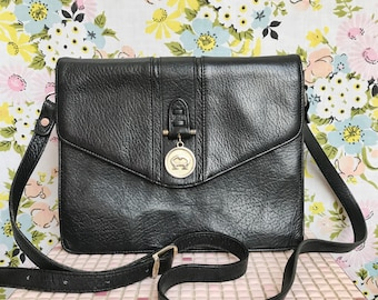 Vintage black leather messenger crossbody bag